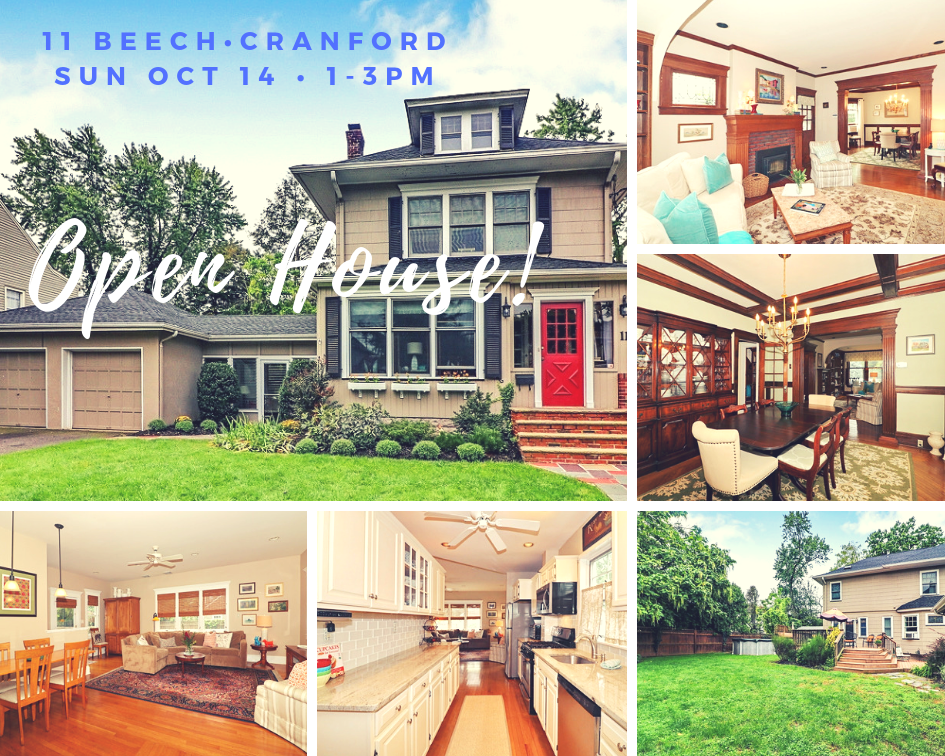 11 Beech Street, Cranford – Open House Sun Oct 14, 1-3pm