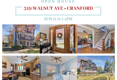 Cranford Open House! 319 Walnut Ave Cranford Sunday Nov 11,1-4pm